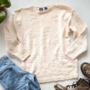 Vintage GAP • cream textured cream knit sweater